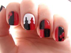 Nails! Red Nail Art, Red Nails, Hair And Nails, Black Nail, White Nail, Maquillage Harley Quinn, Cute Nails, Pretty Nails, Red Nail Designs