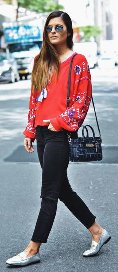 #summer #outfits Red Printed Knit + Black Skinny Jeans + Metallic Loafers // Shop This Outfit In The Link