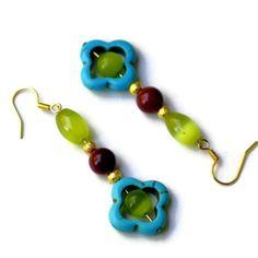 Blue Green Brown Earrings/ Bright Flower Earrings/ by ALFAdesigns, $10.99