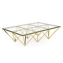 So fun - gold coffee table with glass top from Z Gallerie.  I need to make a knock-off like this from my Ikea Tolga bed frames!