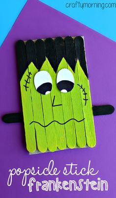 popsicle-stick-frankenstein-craft-for-kids- (halloween manualidades frankenstein) Casa Halloween, Theme Halloween, Halloween Activities, Halloween Projects, Holidays Halloween, Halloween Decorations, Halloween Crafts For Kids To Make, Wooden Halloween Crafts, Halloween Labels