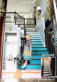 Apply the ombré trend (shades fading from dark to light) that you're seeing on clothes, pillows, ceramics—and even cake—onto the stairs. The effect takes only a few hours to complete. Home Projects, Home Crafts, Diy Home Decor, Interior Design Inspiration, Home Decor Inspiration, Im Coming Home, Painted Stairs, Stairway To Heaven, 6 Photos