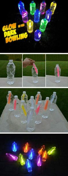 Bowling glow in the dark 16 DIY summer activities for children outdoors Fun sum . Bowling glow in the dark 16 DIY summer activities for children outdoors Fun sum … – Kids Crafts, Summer Crafts For Kids, Crafts For Kids To Make, Summer Kids, Summer Glow, Kids Diy, Party Summer, Summer Nights, Diys For Summer