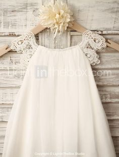 Sheath / Column Knee-length Flower Girl Dress - Chiffon / Lace Sleeveless Scoop with 2016 - $85.79