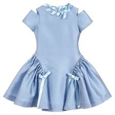 brand dresses An elegant pale blue dress by ValMax, madein a luxurious, polyester and silk blend satin. The full, panelled skirt has ruched sides with satin bows that match the trim arou Kids Frocks, Frocks For Girls, Dresses Kids Girl, Kids Outfits, Cute Baby Dresses, Baby Dress Design, Frock Design, Dress Designs For Girls, Girl Fashion