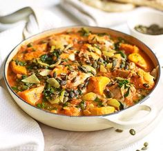A healthy one-pot with warming spices that's low fat, low calorie, 3 of your and also full of fibre! A healthy one-pot with warming spices that's low fat, low calorie, 3 of your and also full of fibre! Bbc Good Food Recipes, Vegetarian Recipes, Cooking Recipes, Healthy Recipes, Healthy Dishes, 5 A Day Recipes, Vegetable Recipes, Easy Dinner Party Recipes, Low Fat Dinner Recipes
