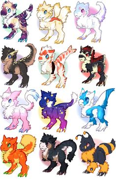 Tufty Trex Adopts (all sold!) by bricu on DeviantArt Cute Fantasy Creatures, Mythical Creatures Art, Mystical Animals, Cute Creatures, Cute Monsters Drawings, Cute Kawaii Drawings, Cute Animal Drawings, Wolf Drawings, Creature Concept Art