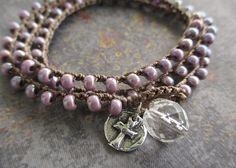 Purple Crochet wrap bracelet necklace - Lavender Haze - sterling silver cross artisan rustic spiritual boho by slashKnots