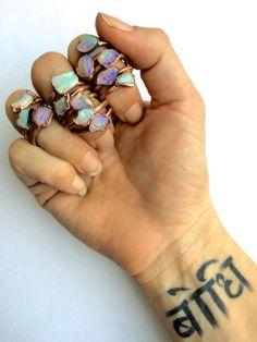 Genuine opal jewelry Australian opal ring Rough by HAWKHOUSE                                                                                                                                                      More