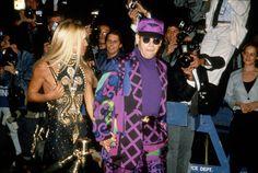 Donatella Versace et Elton John à l'ouverture du Planet Hollywood à New York en octobre 1991