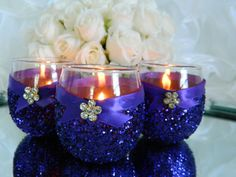 Weddings, Wedding Candles, Candle Holder, Gatsby, Votive Holder, Purple, SET OF 6, Tea Light Holder, Wedding Decoration, Ceremony Candles