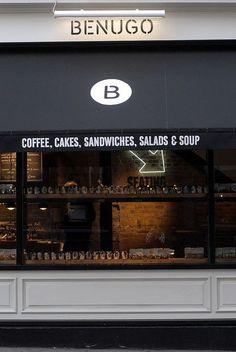 Simple bar of lights shining upon the main signage. Restaurant Design, Restaurant Bar, Cafe Deli, Café Bistro, Shop Facade, Weekend In London, Retail Signage, Café Bar, Coffee Shop Design