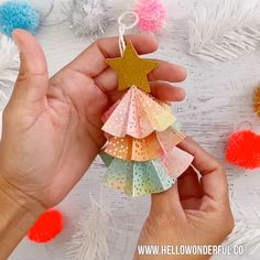DIY Paper Tree Ornaments With Template. Make these pretty paper trees for your Christmas decor. DIY Paper Tree Ornaments With Template. Make these pretty paper trees for your Christmas decor. Christmas Paper Crafts, Handmade Christmas Decorations, Diy Christmas Ornaments, Simple Christmas, Kids Christmas, Holiday Crafts, Oragami Christmas Tree, Diy Christmas Gifts Videos, Christmas Tree Decorations For Kids