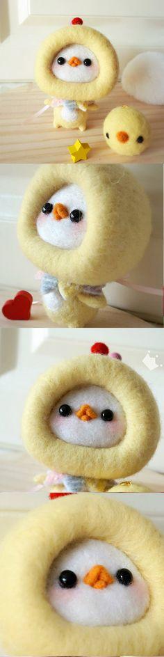 Handmade needle felted felting project cute animal project chicken felt doll