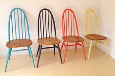 Ercol painted dining chairs // timber seat and painted top and base is the best look for you guys - in Resene Resevoir Ercol Dining Chairs, Ercol Chair, Ercol Furniture, Painted Dining Chairs, Kitchen Chairs, Upcycled Furniture, Painted Furniture, Diy Furniture, Windsor Chairs