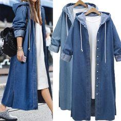 Coats & Jackets Denim Womens Hooded Jeans Buttons Down Long Sleeve Coat Jacket Cardigan Kaftan Muslim Fashion, Hijab Fashion, Fashion Outfits, Kaftan, Hijab Stile, Fashion Closet, Denim Jeans, Blue Jeans, Denim Outfits