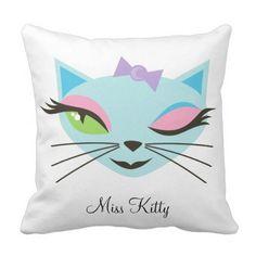 Retro Girl Kitty Sexy Cat Monogram Throw Pillow