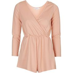 TOPSHOP **Wrap-Over Playsuit by Glamorous Petites ($37) ❤ liked on Polyvore featuring jumpsuits, rompers, petite, pink, red romper, topshop, pink rompers, red rompers and topshop rompers