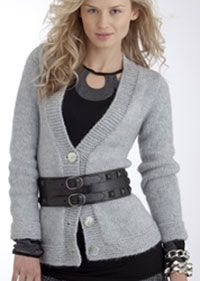 Ladies v-neck knitted cardigan pattern