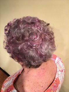 Purple highlights on grey hair