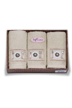 Beźowe kuchenne frotte ręczniki KITCHEN w ozdobnym opakowaniu 32x50 cm.