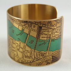 London Map Jewelry - Antique Street Map with the River Thames and London Bridge -