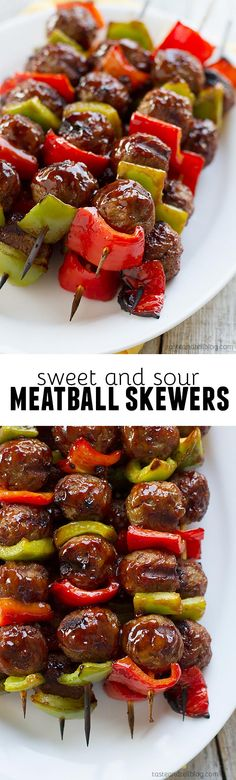These easy meatball skewers are made with frozen meatballs and sweet peppers and then basted with a simple sweet and sour sauce for a fast weeknight meal.