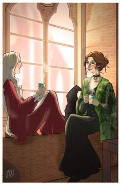 Young Minerva McGonagall & Poppy Pomfrey chatting and drinking hot tea