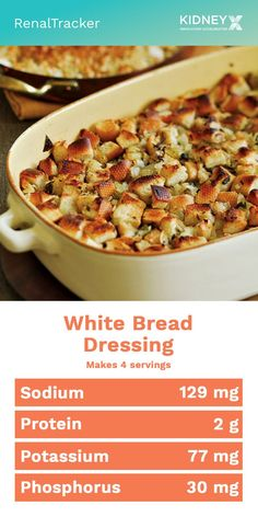 Adds flavor and value to any kind of salad of your choice. Makes use of left-over breads. Click image for this White Bread Dressing low-phosphorus recipe. Low Potassium Recipes, Low Sodium Recipes, Low Phosphorus Foods, Kidney Recipes, Kidney Foods, Kidney Health, Diet Dinner Recipes, Diet Recipes, Low Salt Recipes
