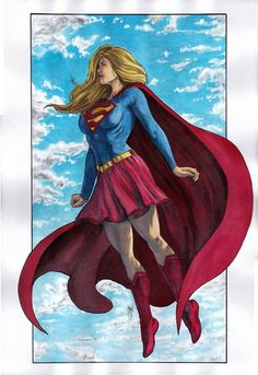 Carlos Eduardo Cunha - Original Color Painting In Watercolor/Gouache Of Supergirl - Dc Comics Art, Dc Comics Characters, Comics Girls, Marvel Dc Comics, Supergirl 2016, Supergirl Comic, Comic Books Art, Comic Art, Univers Dc