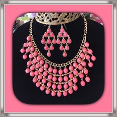 ☃ NECKLACE AND EARRING SET ☃ ☃. Spectacular medium pink necklace has 4 rows of beads. And lots of gold that gives this necklace it's stunning appearance.  The matching earrings are just as gorgeous.  The set will make a statement for sure.  ☃ Jewelry Necklaces