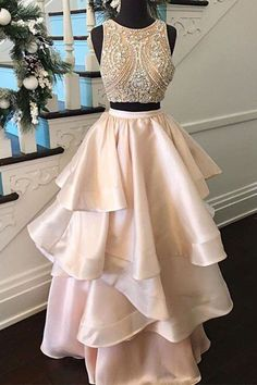 Two piece prom dress, ball gown, beaded pink satin dress for teens