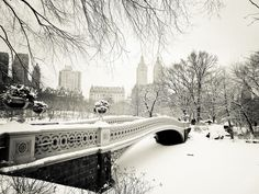New York City Winter: Take a moment to revel in the storybook-like views of Central Park's most romantic bridge, Bow Bridge, covered in snow.