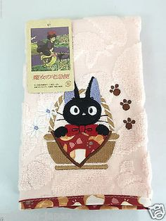 Kiki's Delivery Service JiJi Hand Towel 38 x 38cm Studio Ghibli 03242 From Japan