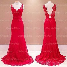 Backless lace prom dress, red prom dress, off shoulder prom dress, mermaid prom dress, best prom dresses, 16182