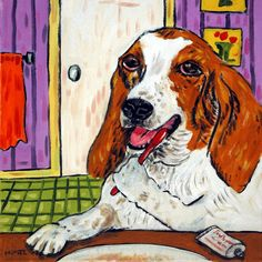 Basset Hound dog Brushing Teeth dog art tile coaster gift. 4.25 x 4.25 inch Decorative ceramic art tile listed and individually made by the artist Four cork dots on the back of the tile protect counters/tables High quality and very durable Pictures are to show what the tile looks like but with the image for this listing . 2nd photo in product pictures is a sample picture showing what the product will look like but with the image for this listing.