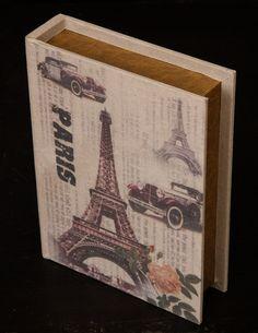 """Φέρτε το """"Paris"""" στη βιβλιοθήκη σας! Ξύλινο κουτί σε Vintage ύφος! Trips, Decoration, Cover, Books, Vintage, Art, Viajes, Decor, Art Background"""