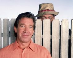 Tim Allen and Earl Hindman in Home Improvement Home Improvement Grants, Home Improvement Contractors, Home Improvement Tv Show, Earl Hindman, Taran Noah Smith, Tim Allen, Home Repair, Hollywood Stars, Souvenirs