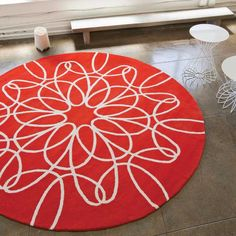 Found it at AllModern - Ribbon Red Area Rug Round Outdoor Rug, Outdoor Rugs, Mid Century Rug, Black Rug, Contemporary Area Rugs, Red Rugs, Lowes Home Improvements, White Area Rug, Neutral Colors