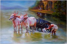 The Bullock Cart Oil on canvas Artist Ratnadip Barbole Farmer Painting, Bull Painting, Painting Of Girl, Village Drawing, Art Village, Village Photos, Indian Village, Bull Images, Art Images
