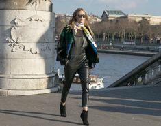 ys!  For the fifth day of PFW I wore an Elie Saab jacket and bag, a Hermes scarf all with a favorite pair of leather overalls I got from my last trip to Japan. Underneath the overalls is a simple top from Zara and to complete the look I'm wearing Dior booties and WWL sunglasses.  Have a great day