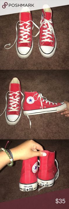 Red high top converse Like new! Barely worn size 9 Converse Shoes