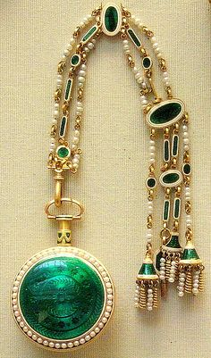 "Gold and enamel ""macaroni"" chatelaine, London, late 18th century"