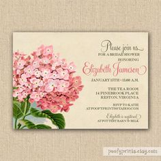 Vintage Hydrangea Bridal Shower Invitations  by PoofyPrints, $23.00