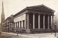 This is Elgin Place Congregational Church, Glasgow. It was sited at 240 Bath Street, at the junction with Pitt Street. It was built in 1856 and was used as a church until 1962 when it closed its doors. It sat vacant and unused until 1982 when it was remodelled inside and was reopened as the Cardinal Follies nightclub. It was renamed various times - Temple, Shack and finally Trash. In 2004 a fire destroyed the interior structural supports of the building and it was finally demolished by…