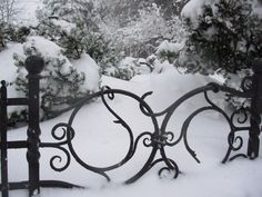 Wrought Iron Gate In Winter Garden Gates And Fencing, Garden Doors, Fence Gate, Metal Gates, Wrought Iron Gates, Winter Magic, Winter Snow, Iron Work, Snow And Ice