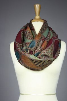 Large paisley Infinity Scarf , Pashmina / silk, dark Red, Teal, available at Etsy shop ScarfObsession