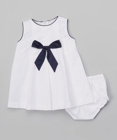 White & Navy Bow Dress & Diaper Cover - Infant & Toddler #zulily #zulilyfinds