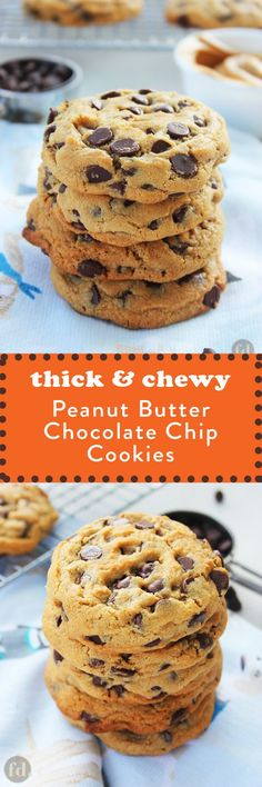 Thick & Chewy Peanut Butter Chocolate Chip Cookies: These AAH-MAZING peanut butter chocolate chip cookies are simply out of this world, crazy good! If you love your cookies thick and chunky, with a delicious chewy moistness in the Cookie Desserts, Just Desserts, Dessert Recipes, Dessert Food, Gourmet Desserts, Health Desserts, Recipes Dinner, Chocolate Peanut Butter Cookies, Peanut Butter Recipes
