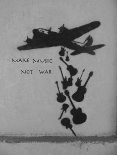 Artwork by Banksy - Make Music Not War, - Pinr Online Banksy Graffiti, Street Art Graffiti, Bansky, Banksy Prints, Yarn Bombing, Stencil, Amazing Street Art, Political Art, Foto Art